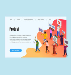 Activists isometric landing page vector