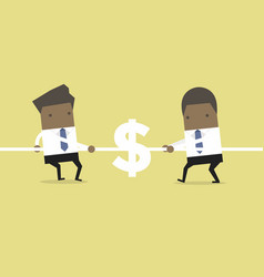 African businessman playing tug of war with dollar vector