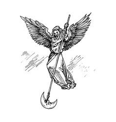 Angel flying on wings strikes eye moon vector