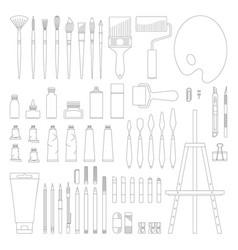 art tools line set vector image