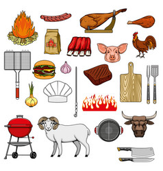 barbecue grill picnic burger sausage meat icons vector image