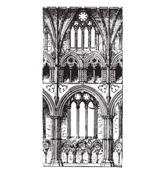Bay vaulted structural system vintage engraving vector