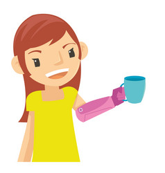 beautiful girl take the glass with robot arm vector image