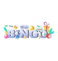 bingo lottery game typography banner template vector image
