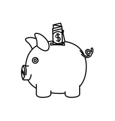 Black silhouette of moneybox in shape of pig with vector
