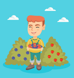 Boy with the basket of strawberry and blueberry vector