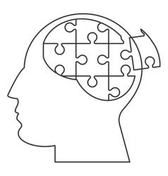 Brain in puzzle pieces icon vector
