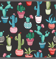 cacti flower seamless pattern vector image
