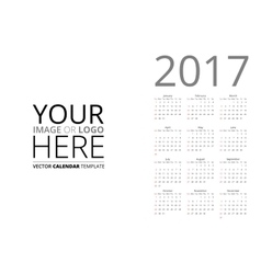 Calendar 2017 mockup vector image