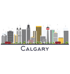 Calgary canada city skyline with gray buildings vector
