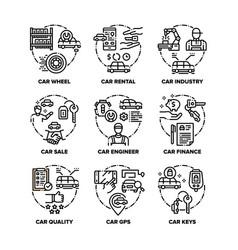 Car vehicle set icons black vector