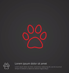 cat footprint outline symbol red on dark vector image