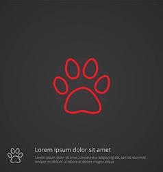 Cat footprint outline symbol red on dark vector