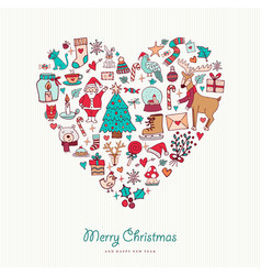 christmas and new year hand drawn icon heart vector image