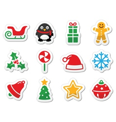 Christmas icons as labels vector image