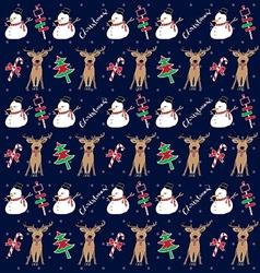 christmas pattern snowman vector image
