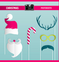 christmas retro party set glasses hats mustaches vector image