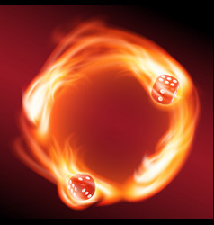 circling two red dice in fire vector image