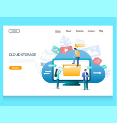 cloud storage website landing page design vector image