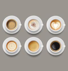 Coffee mug top view cappuccino espresso latte vector