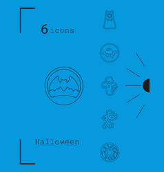 collection of 6 halloween icons in thin line style vector image