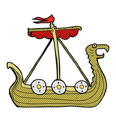 Comic cartoon viking ship vector