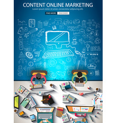 Content online marketing brochure template with vector