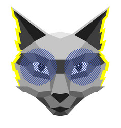 Cool cat creative in polygonal vector