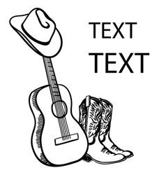 country music acoustic guitar with cowboy hat and vector image