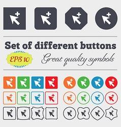 Cursor arrow plus add icon sign Big set of vector