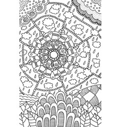 doodle mandala pattern - coloring page for adults vector image