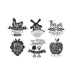 farm market retro labels set organic craft food vector image