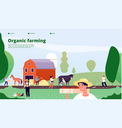 farmer landing page agricultural workers work vector image