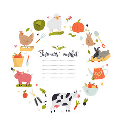 farmers market template with animal and symbols vector image