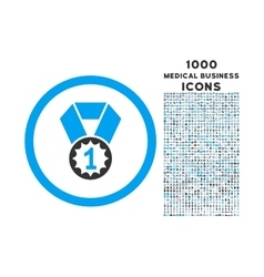 First Place Rounded Icon with 1000 Bonus Icons vector image