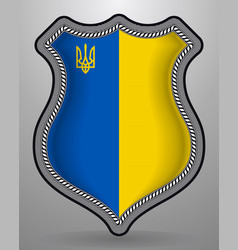Flag of ukraine with trident badge and icon vector