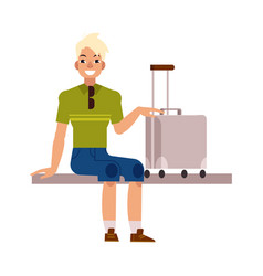 flat man tourist with travel bag suitcase vector image