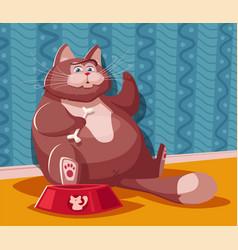 Funny fat cat cartoon vector