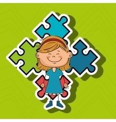 girl kids puzzle icon vector image