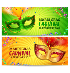 Green and orange carnival masks mardi gras vector