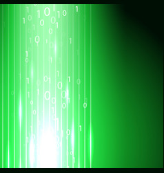 green background with stream of binary code vector image