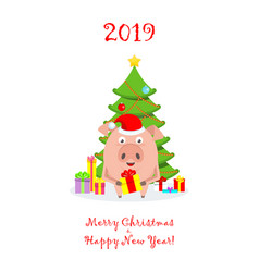 greeting card with funny merry pig in santa claus vector image