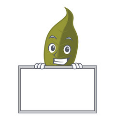 Grinning with board bay leaf character cartoon vector