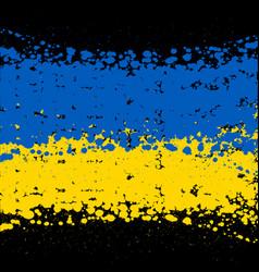 grunge blots ukraine flag background vector image