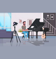 Guy musical blogger recording video on camera man vector