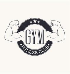 gym gymnasium emblem fitness club logo vector image