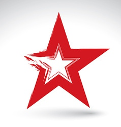 Hand drawn soviet red star icon scanned and brush vector image