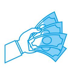hand with money bills icon vector image