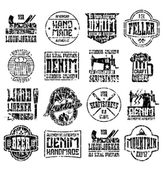 Handcrafted badges in retro style vector