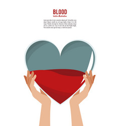 Hands holding blood heart vector